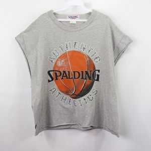 Vintage Spalding Spell Out Cut Off Shirt Gray XL